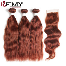 Brazilian Natural Wave Human Hair Bundles With Closure #33 Brown Auburn Non-remy Hair Weaves 3/4 Bundles With Closure KEMY HAIR(China)