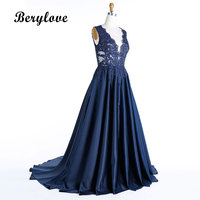 BeryLove Morden Dark Navy Blue Plus Size Evening Dresses 2018 Deep V Neck Beaded Lace Prom Dresses Formal Dress Party Gowns