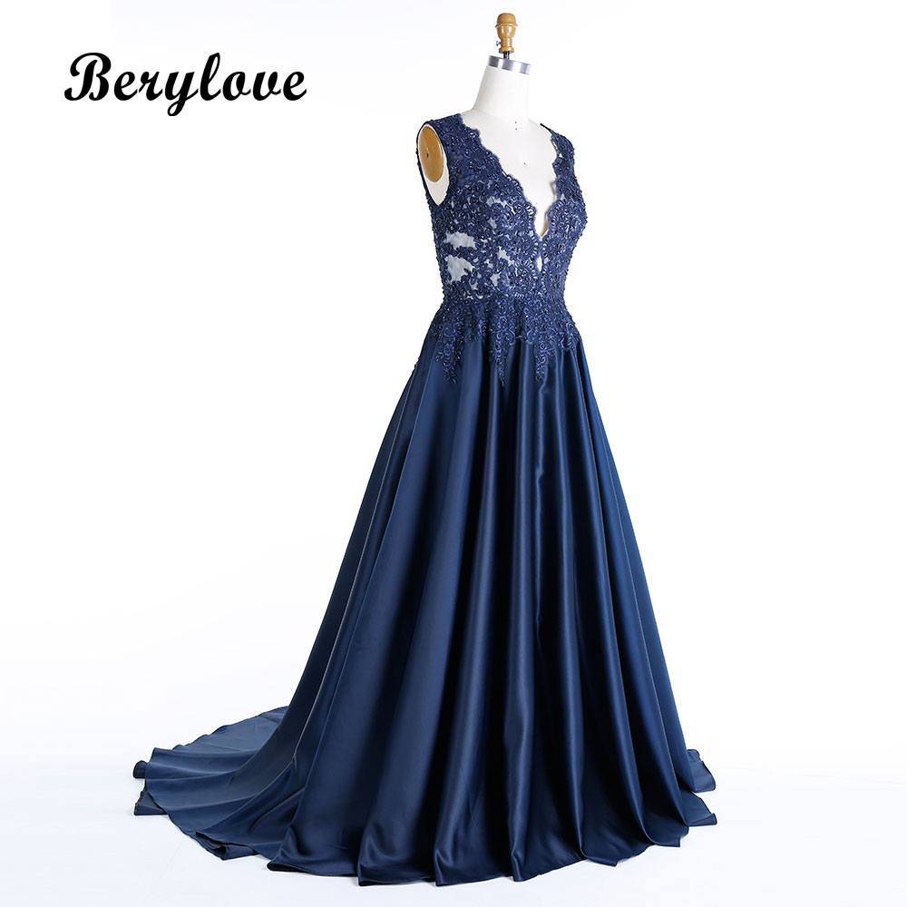 931c04dc287c9 BeryLove Morden Dark Navy Blue Plus Size Evening Dresses 2019 Deep V Neck  Beaded Lace Prom Dresses Formal Dress Party Gowns-in Evening Dresses from  Weddings ...