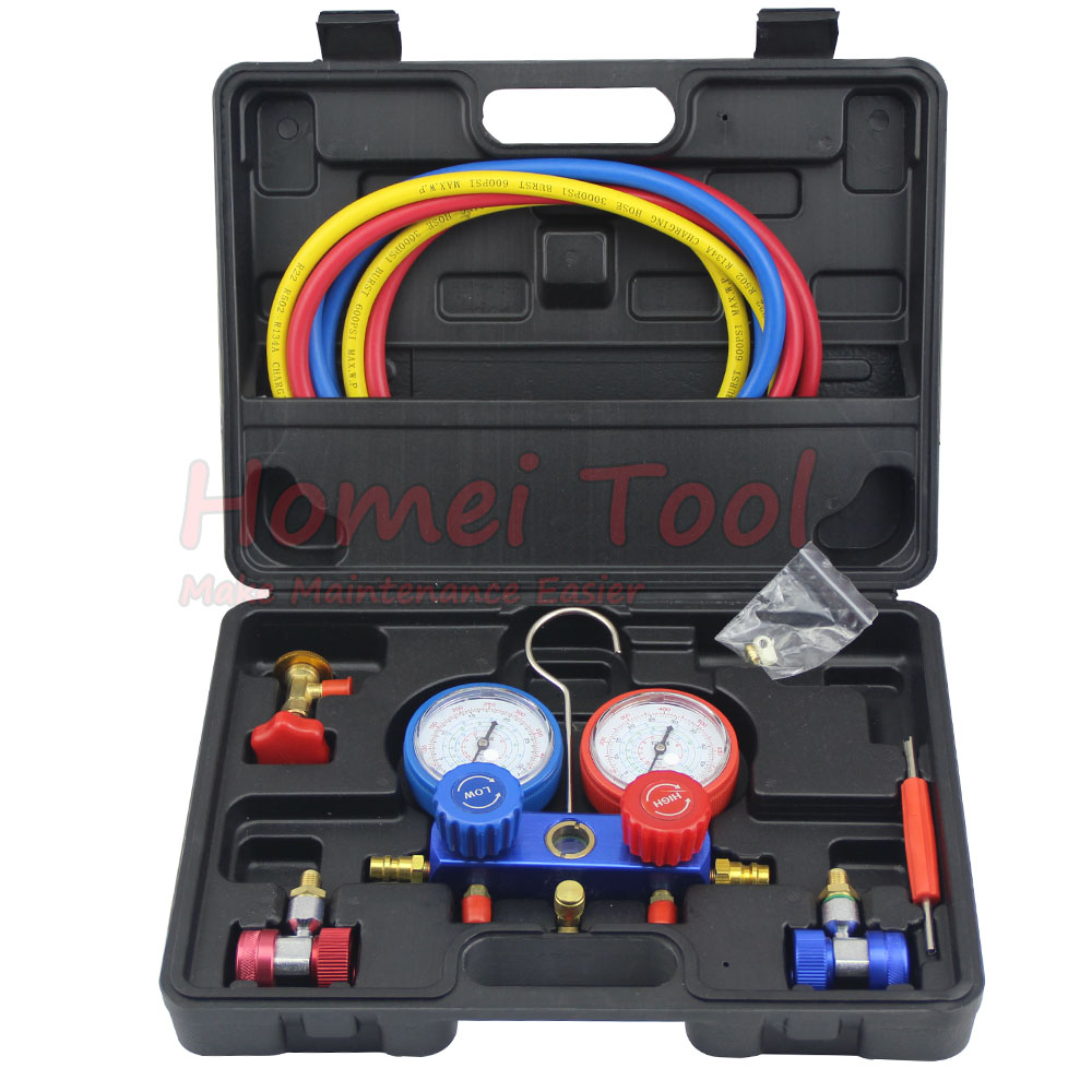 Refrigeration Air Conditioning Manifold Gauge Maintenence Tools freon adding gauge forR12,R22, R404A, R134A Car Set car air conditioning refrigeration pressure test gauge r134a at2217