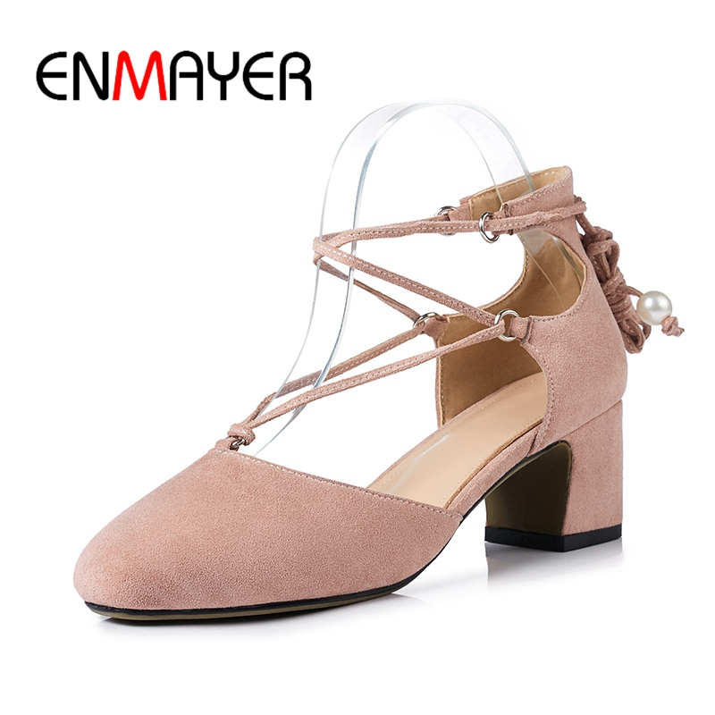 ENMAYER Women Med heels sandals Shoes women Causal Flock Square Toe Thick heels Lace up Comfortable Hollow Ladies shoes CR88