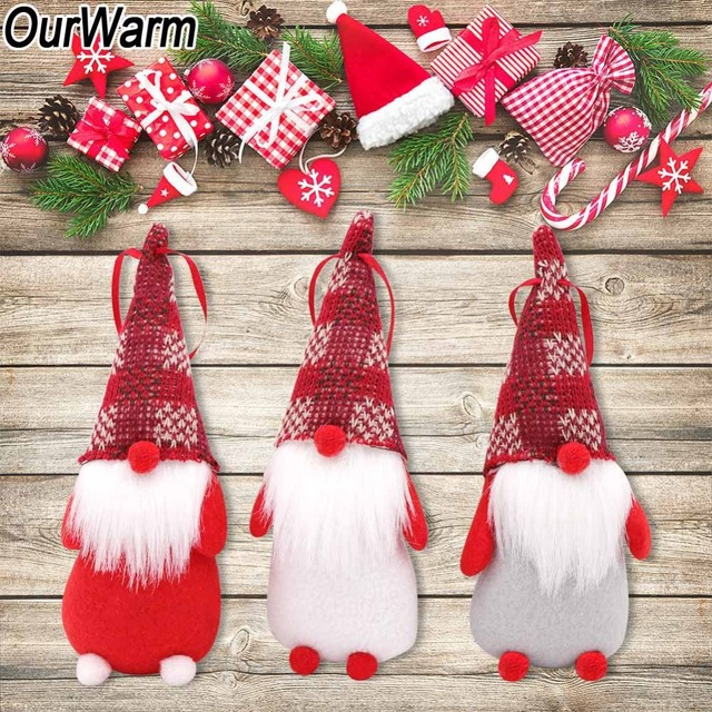 Us 2 99 40 Off Ourwarm 3pcs Gnome Santa Christmas Ornaments 18x7cm Fabric Gnome Christmas Tree Decorations New Year S Toys Home Decoration In