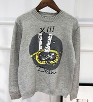 2018 Winter Runway Finger Embroidery Women Gray Sweater Pullovers Long Sleeve Ladies Femme Pull Jumper Christmas Clothing