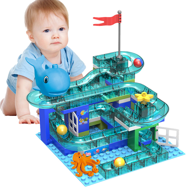 100 PCS Marble Race Run Maze Ball Track Building Blocks Crystal Plastic Light Slide Big Bricks Compatible Legoed Duplo Blocks