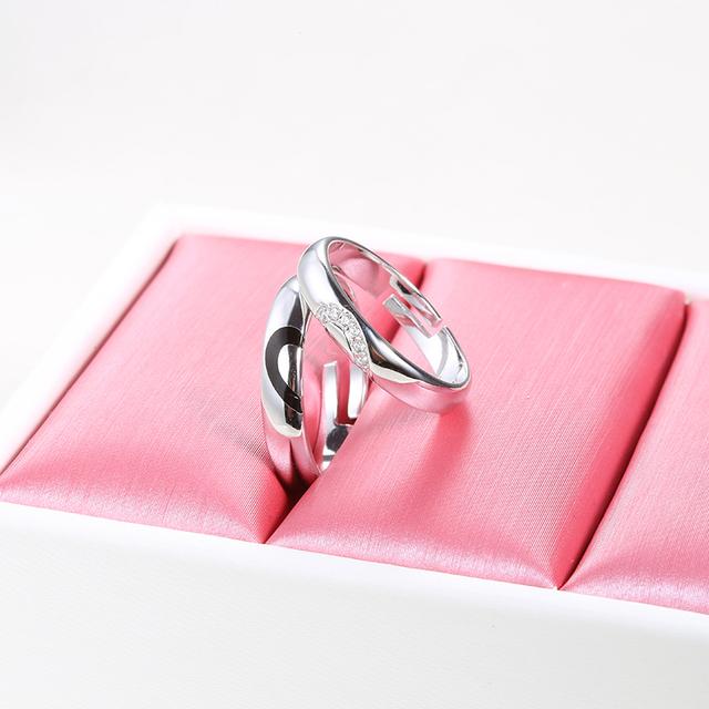Zircon Heart Rings Matching Couple