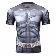 Marvel Super Hero Batman Compression Fitness Shirt Tights Quick Dry Short Sleeve Running T Shirt DC Comics Slim Fit Top Male