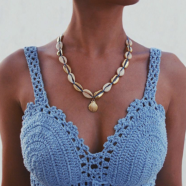 Vintage Handmade Shell Necklace Party gifts Ocean Shell Weave Necklace Women's Necklace Beach Style New Bohemian Gift