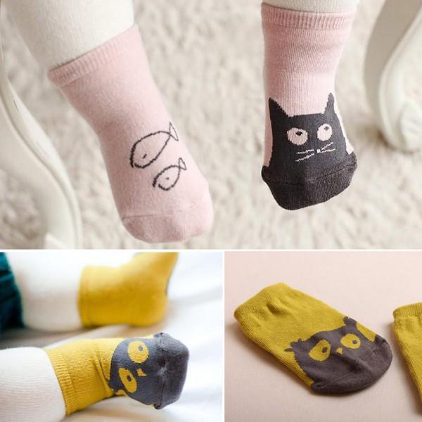̿̿̿(•̪ )Niño lindo bebé suave Calcetines dibujos animados patrón ...