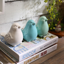 Nordic Ceramics Birds Figurines Ornaments Blue Green White Bird Animal model Garden Miniatures Decoration Crafts home decor
