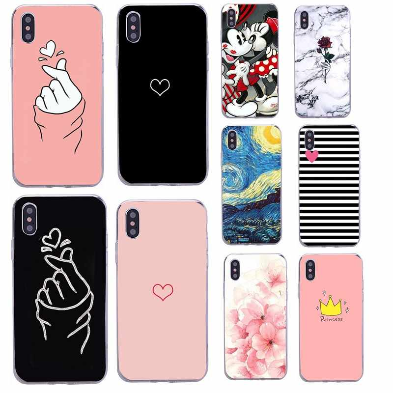 Voor Capinha iphone 5s apple 5se 5 Telefoon Case Silicon Soft Slim Hart Liefde Girly Roze Cover Voor iphone x xs 6 s 6 7 8 plus