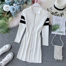 NiceMix Autumn Women Dress Splice Knitted Chic Long Sleeve Slim Casual Dresses With Zipper Female Party Retro Vestidos