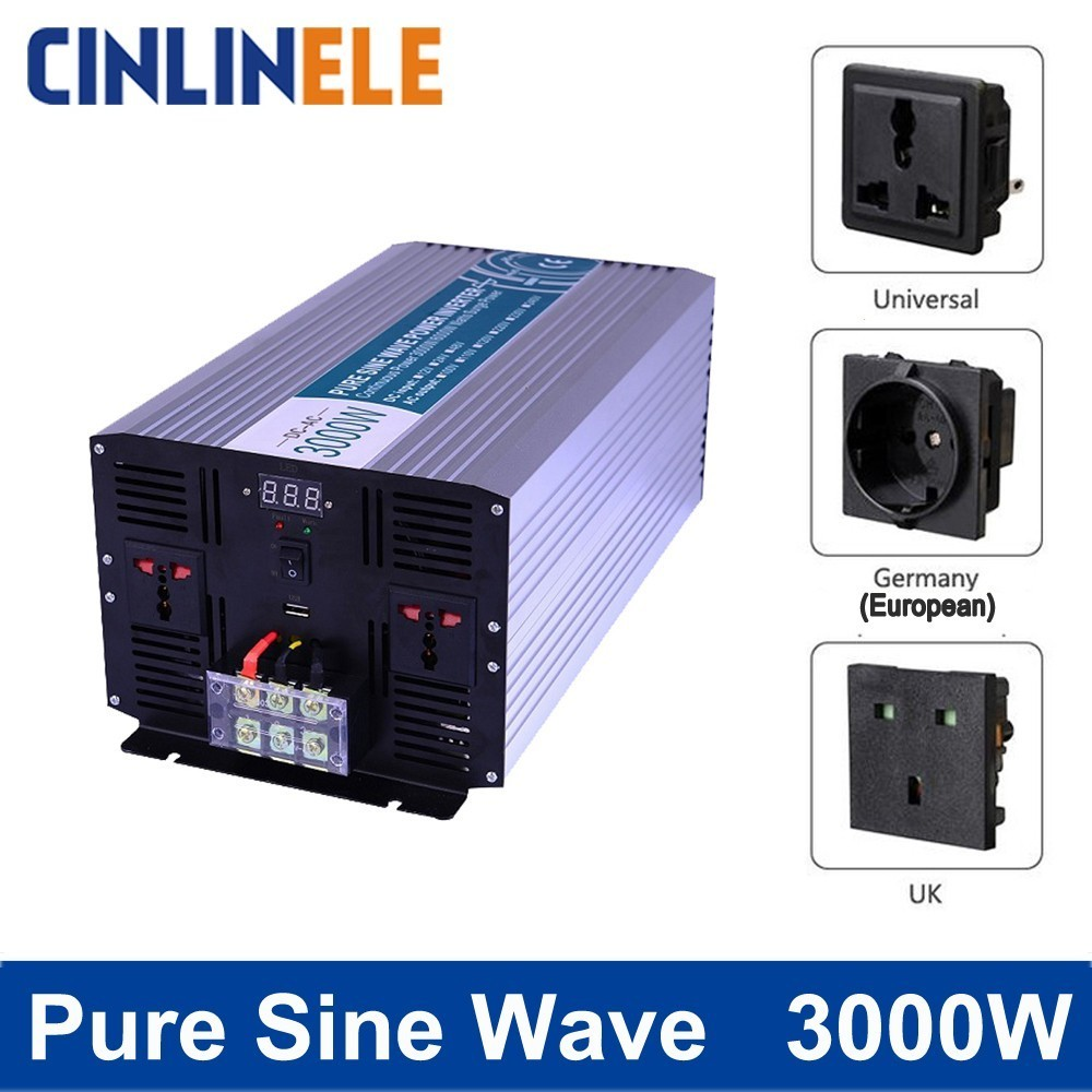 Smart Pure Sine Wave Inverter 3000W CLP3000A DC 12V 24V 48V to AC 110V 220V Smart Series Solar Power 3000W Surge Power 6000W