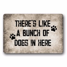 Entrance Floor Mat Non-slip Doormat Theres Like A Bunch Of Dogs Outdoor Indoor Rubber Non-woven Fabric Top 15.7x23.6 Inch