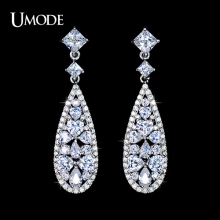 UMODE Brincos Vintage Rhodium plated Long Earrings With Mulitshape AAA CZ  Drop Earrings For Women Jewelry AUE0091