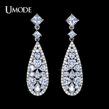 UMODE Brincos Vintage White Gold Color Long Earrings With Mulitshape AAA CZ Drop Earrings For Women