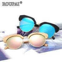 ROUPAI 2017 New Design Half Rimless Frame Sunglasses Women Vintage Polarized Coating Mirrored Sun Glasses Female