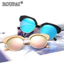 ROUPAI 2017 New Design Half Rimless Frame Sunglasses Women Vintage Polarized Coating Mirrored Sun Glasses Female Eyeglasses