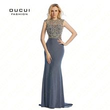 Real Photo Beading Handmade Crystal Long Prom Dress Evening dress See through back Tulle Open back Mermaid Scoop Formal OL102813
