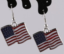Vintage Design Silver Bijoux US Flag Drop Earrings For Women Fashion Jewelry Dangle Statement Girl Gift