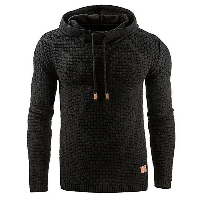 Casual Hoodie Men's Plaid Jacquard Sweatshirt 2