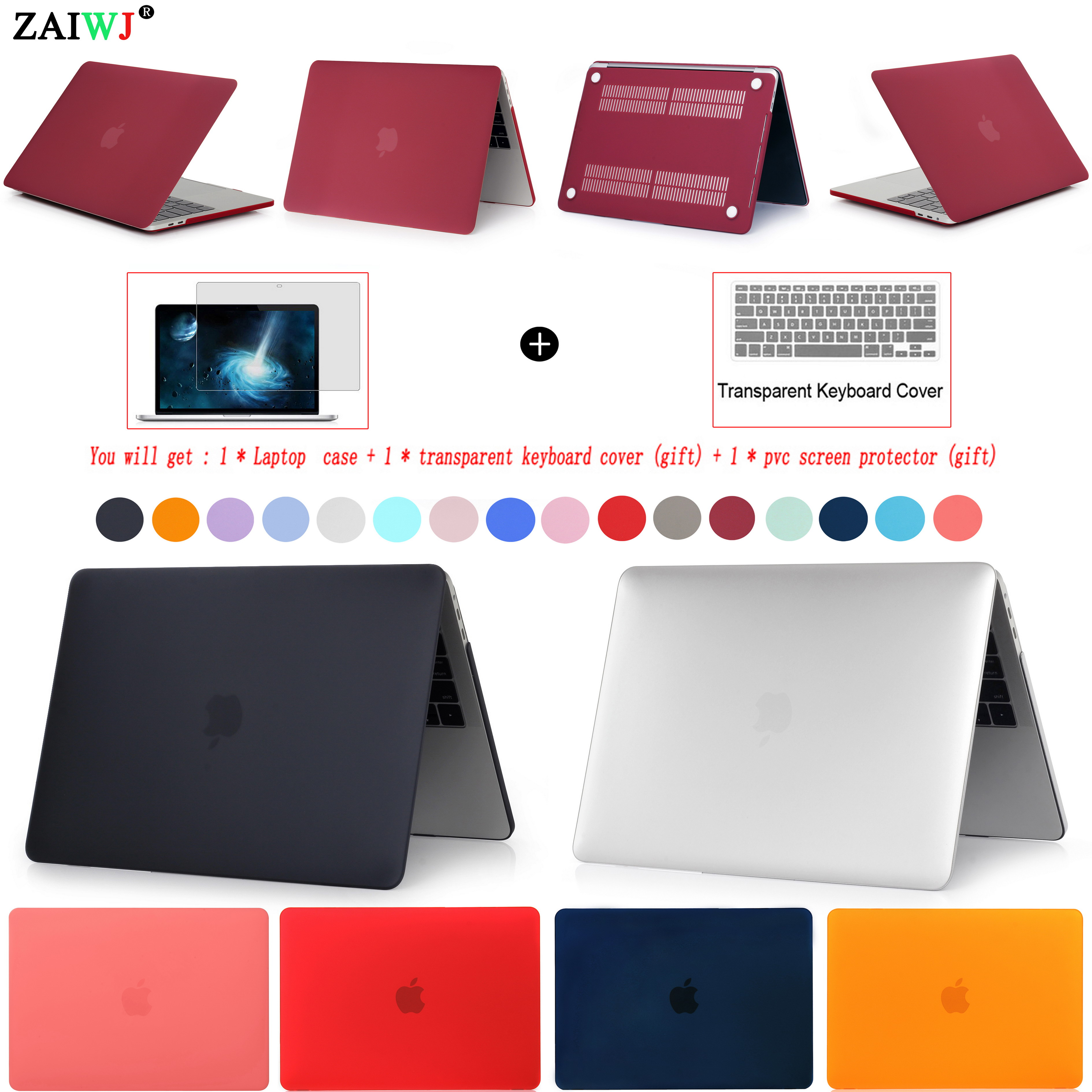 New Laptop Case For MacBook Air Pro Retina 11 12 13 15 For Mac 13.3 15.4 16 Inch With Touch Bar ID A2159 A2141 Keyboard Cover