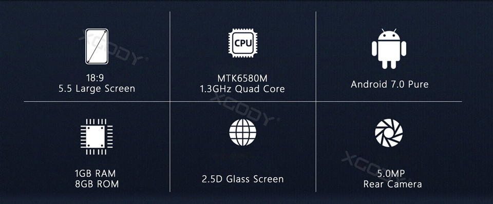 18:9 Ratio Screen with 8GB ROM and Quad Core processor
