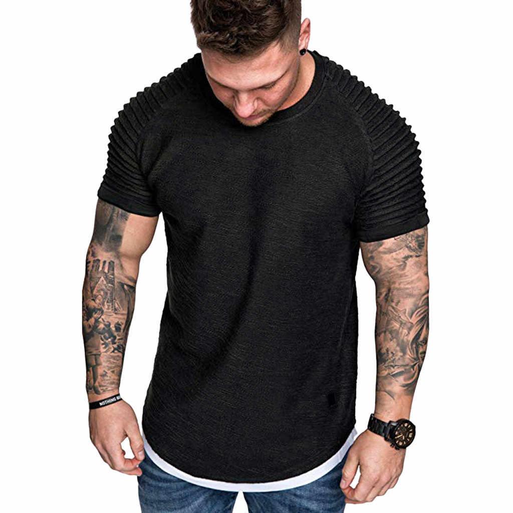 T camisas masculinas de verão plissados ajuste fino raglan manga curta padrão topo blusa casual moda masculina de alta qualidade coisas estranhas
