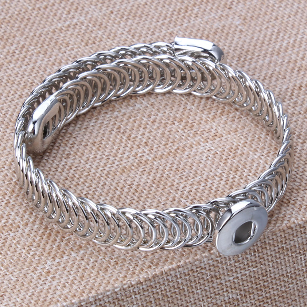 Fashion Charms Elasticity Metal Silver Bracelet Fit 12mm Snap Buttons Bracelets For Women Jewelry ZE053 image