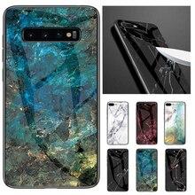 Роскошные Мрамор жесткий оправа закаленное стекло чехол для телефона для samsung S10 S10 плюс S10 lite задняя крышка для samsung S10e случае M10 20 30