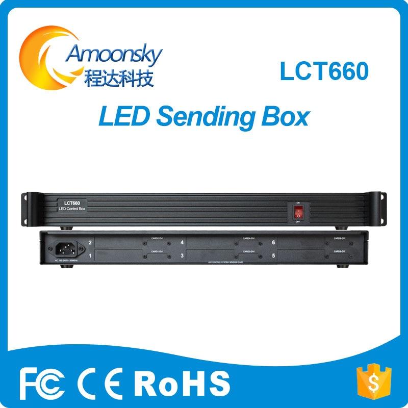 AMS-LCT660 led video screen sender box can install 6 sending cards like linsn ts802d nova msd300 colorlight s2 sending card цена