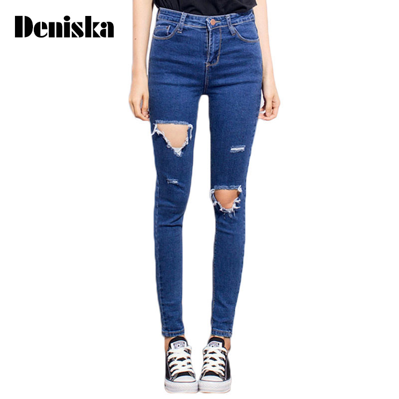 цены  Fashion Casual Women Brand Vintage High Waist Skinny Denim Jeans Slim Ripped Pencil Jeans Hole Pants Female Sexy Girls Trousers