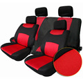Universal Car Seat Cover Set 10Pcs Seat Covers Front Seat Back Seat Headrest Cover Mesh Black and red 5 Styles Optional