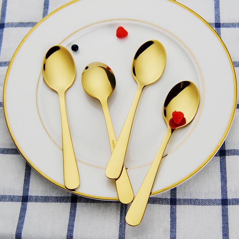 Nyeste 4PCS / Set Tea Party Spoon Sett Teskjeer Spiseskje 18/8 Rustfritt Stål Forgylt Te Skjeer Bestikk Sett For Hot Tea