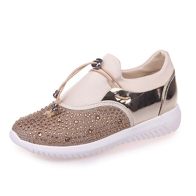 Women Flat Shoes Breathable Ladies Leather Shoes dropshipping Crystal Bling Casual Slip on Women trainers Shoes Causal Women sweet women high quality bowtie pointed toe flock flat shoes women casual summer ladies slip on casual zapatos mujer bt123