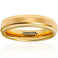New Arrival 4mm Width Gold Color Tungsten Ring for Men Wedding Band Engagement Promise Ring Brushed Beveled Size 7 13