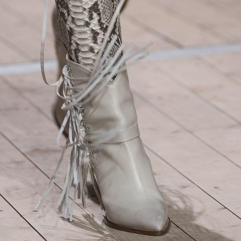 Moda La Montar Mujer Botas Punta De Gran Cuña Slip Las Cm Tassels Rosa Jady Alto white Otoño Tacón white Tamaño Negro On Mujeres 10 Zapatos RxTXIwq