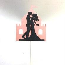 Bride Groom Castle Wedding Cake Topper Cupcake Flags Black Pink Engagement Party Baking Decor Mr Mrs