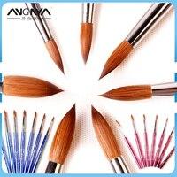 ANGNYA New 1pcs 6 8 10 12 14 16 18 Kolinsky Sable Brush Acrylic Nail Art