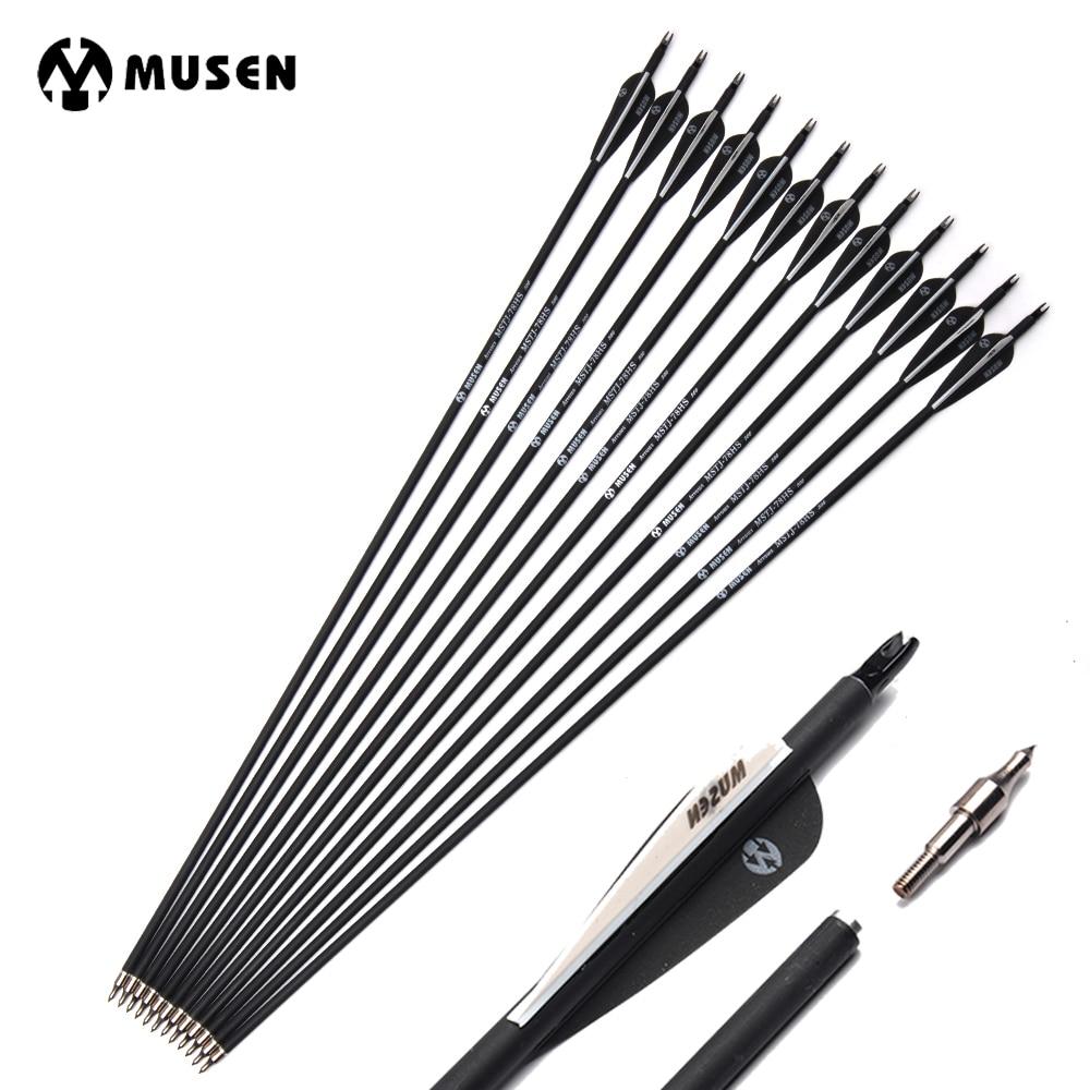 6/12/24 pçs/lote 32 polegadas espinha 500 seta de carbono com cor preta e branca para recurvo/arco composto caça tiro com arco k