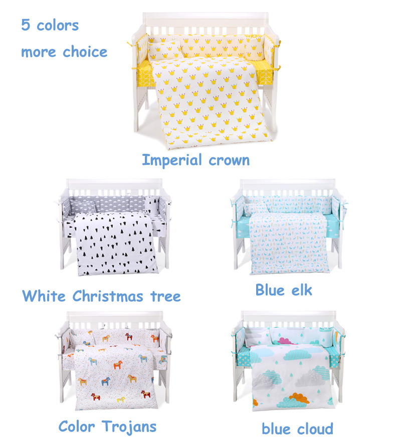 tahmeed aijaz reactive distillation 7 pieces reactive dying baby crib bedding sets wish bumper, quilt, pillow, flat sheet