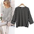 Kesebi 2017 Spring Summer Female Batwing Three Quarter Sleeve Loose Tops Women European O-neck Black and White Striped T-shirts