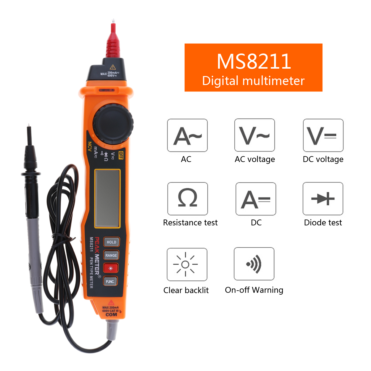 Peakmeter Handheld Digital Multimeter AC/DC Voltage Current Electric Tester Pen Type Non-contact NCV Detector with Test Probe 1pcs electric indicator 90 1000v socket wall ac power outlet voltage detector sensor tester pen led light drop ship wholesale