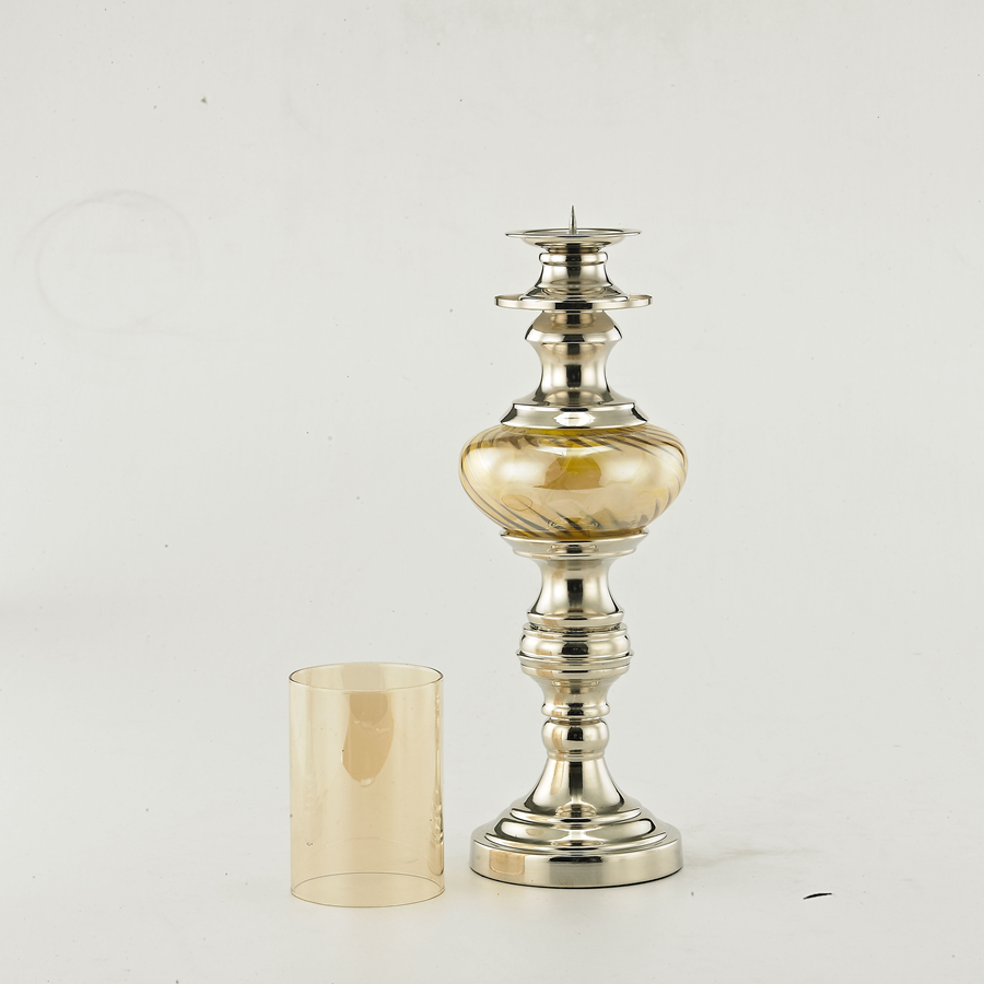 Candlestick Holder Cloth Flower Amber Glass Candle Stand Lantern ...