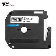 Label Printer Tape Black on White Sticker Marker for Brother P-Touch PT-65 PT-70 PT-80 Machine Ribbon 12mm