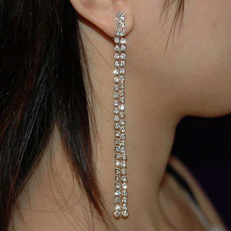 Long 4 Prom Crystal Rhinestone Dangle Drop 2 Row Bridal Pageant Earrings Accessories Ce1013 In From Jewelry On