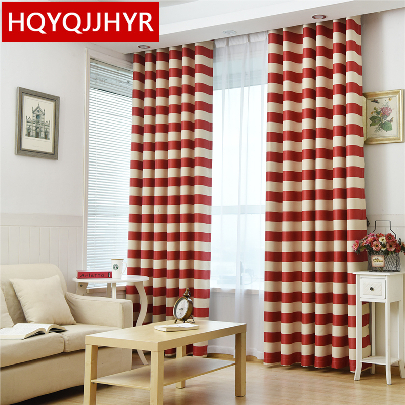 Red Striped Mediterranean Semi Shaded Curtains For Living Room Sheer Curtains For Kitchen Window