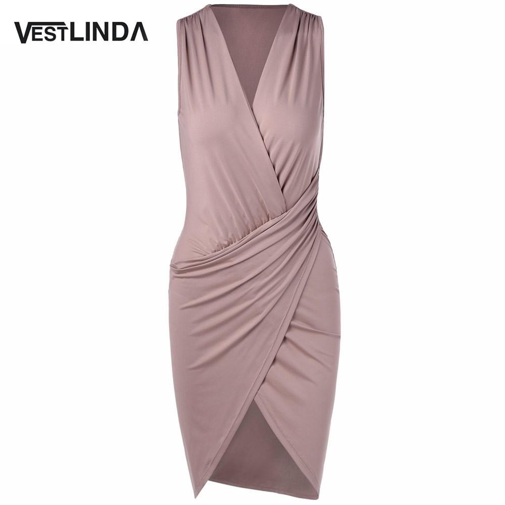 VESTLINDA Elegant Women V Neck Sleeveless Bodycon Mini Dress Sexy robe femme Chic Evening Party Dresses Vestidos Bandage Dress