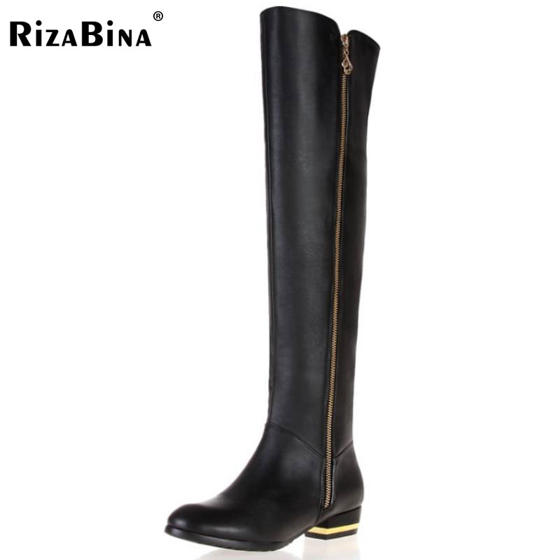RizaBina women genuine leather over knee boots fashion long boot winter botas feminina brand footwear shoes R1537 size 30-45 ladies wedge high heel over knee boots women long boot fashion autumn winter botas brand heels footwear shoes p20151 size 34 39