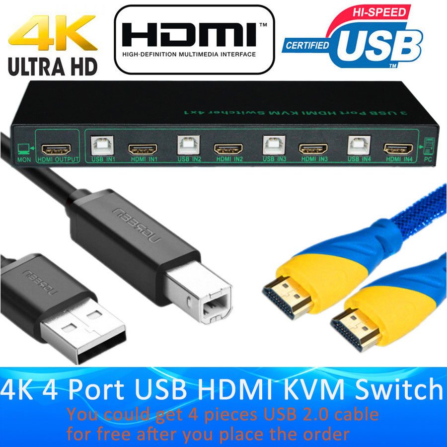 ProAV 2 Port / 4 Port USB HDMI KVM Switch 4K 4 Port KVM Switch HDMI USB 2.0 KVM Switch Support 4096*2160/4K*2K Extra USB2.0 Port цена