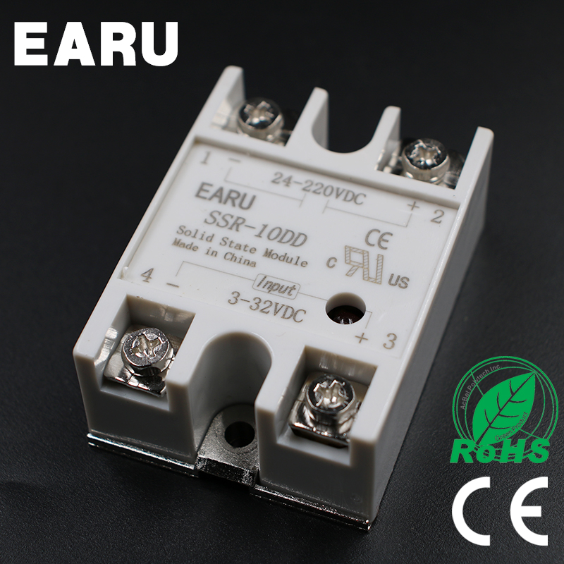 1 pcs Solid State Relay SSR-10DD 10A  3-32V DC Input TO 24-220V DC SSR 10DD SSR-10 DD Industry Control Factory Wholesale Hot normally open single phase solid state relay ssr mgr 1 d48120 120a control dc ac 24 480v